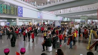 Flash mob pops up at Beijing Capital International Airport