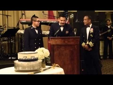 239th Naval Birthday Ball -Andrew Samaniego Cuts The Cake As Youngest Navy Enlisted Member