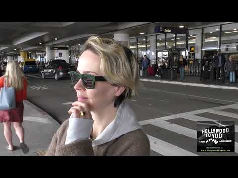 Sarah Paulson talks about Donald Trumps views toward Gay & Lesbian community while departing at LAX