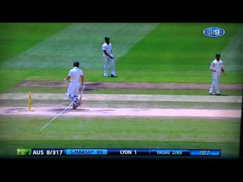 Shaun Marsh Run out at 99 at Boxing Day Test Match at the MCG - AUS vs IND 2014