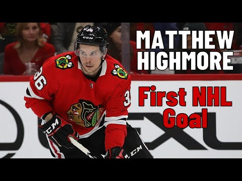 Matthew Highmore #36 (Chicago Blackhawks) first NHL goal 10.03.2018