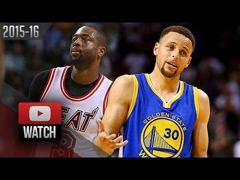 Stephen Curry vs Dwyane Wade EPIC DUEL Highlights (2016.02.24) Heat vs Warriors - MUST Watch!
