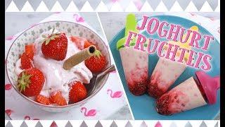 JOGHURT FRUCHTEIS SELBER MACHEN | gesundes Eis Rezept [mit & ohne Eismaschine, z.B. am Stiel]