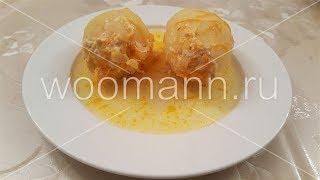 Картофель фаршированный куриным фаршем в сметанном соусе