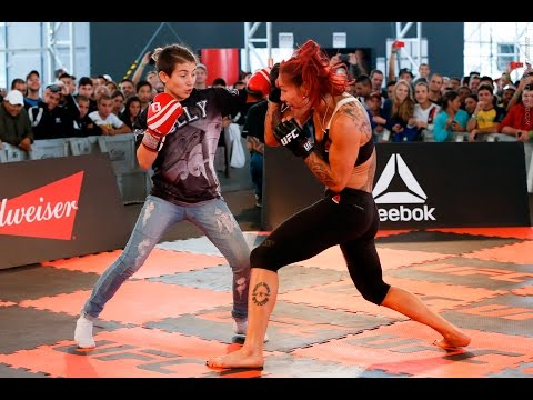 UFC 198: Cris Cyborg Spars With Fan at Workouts