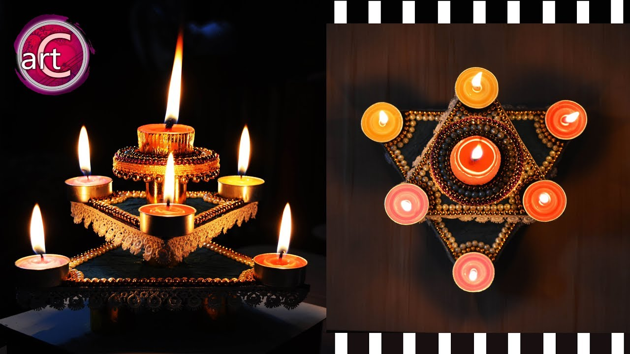 HOW TO make Diya Stand   Star Diya Stand   DIY   Art with ...