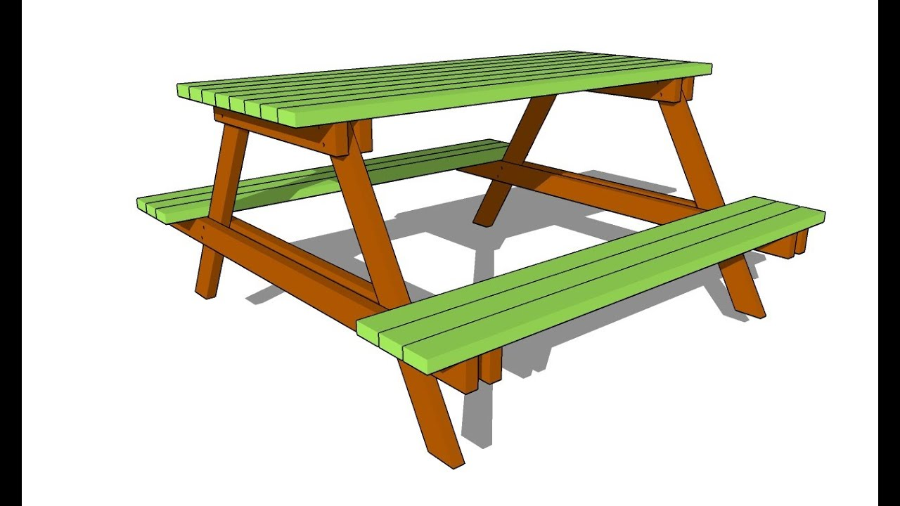 How To Draw A Picnic Table picnic table plans free - youtube