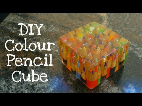 How to make Colour pencil cube from epoxy resin   resinart resincraft   pencil art   pencil hacks