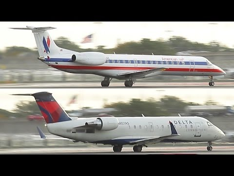 American Eagle ERJ 145 + Delta CRJ 200 Takeoff from Ft. Lauderdale ...