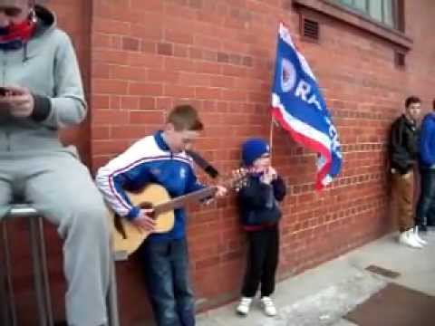 young bear with guitar at ibrox 10th march 2012  BLUE SEA OF IBROX