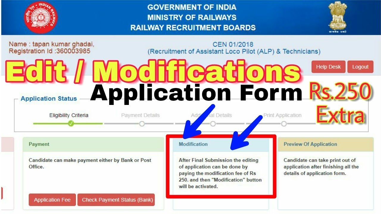Form pdf application rrb