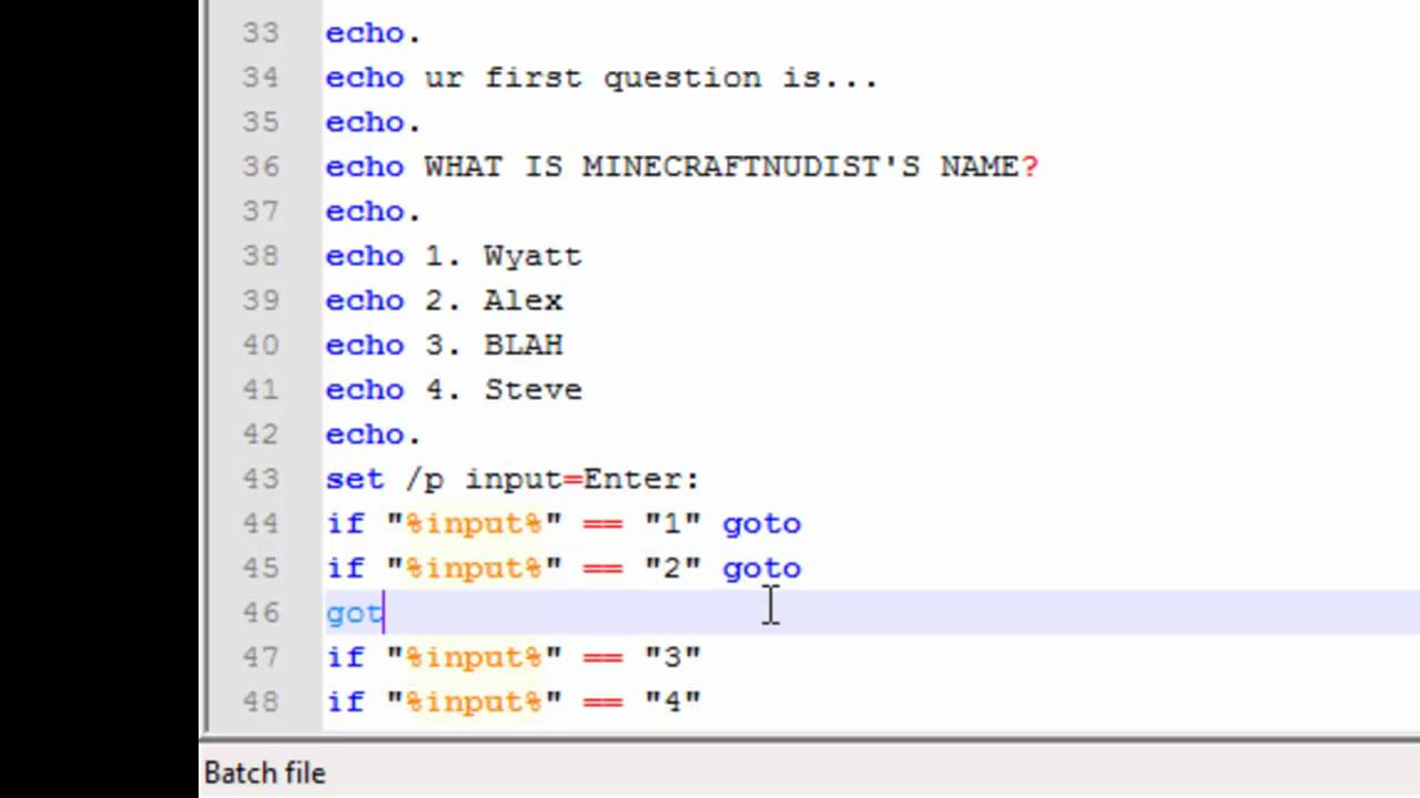 Creating a Game With Notepad