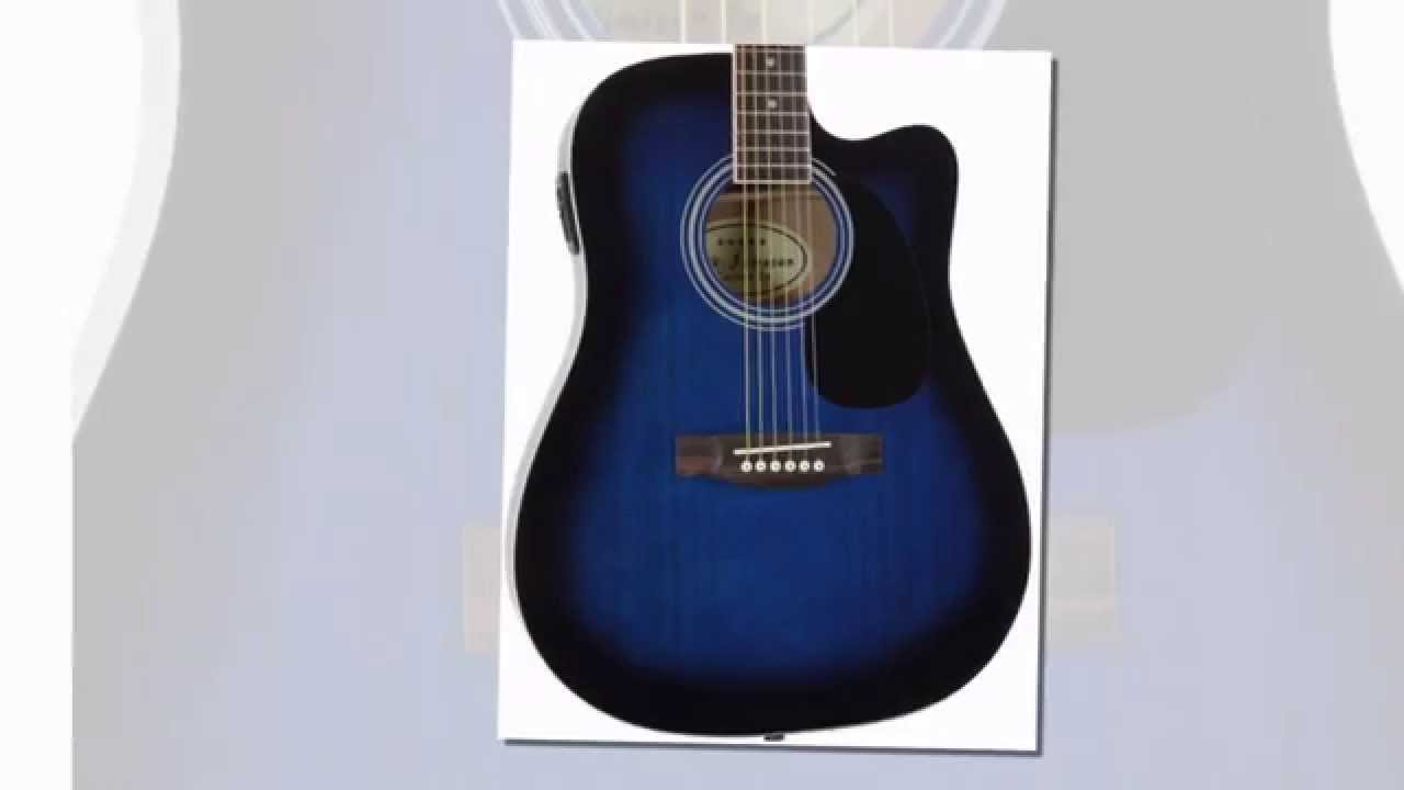 best buy blue full size thinline acoustic electric guitar with free gig bag case picks youtube. Black Bedroom Furniture Sets. Home Design Ideas
