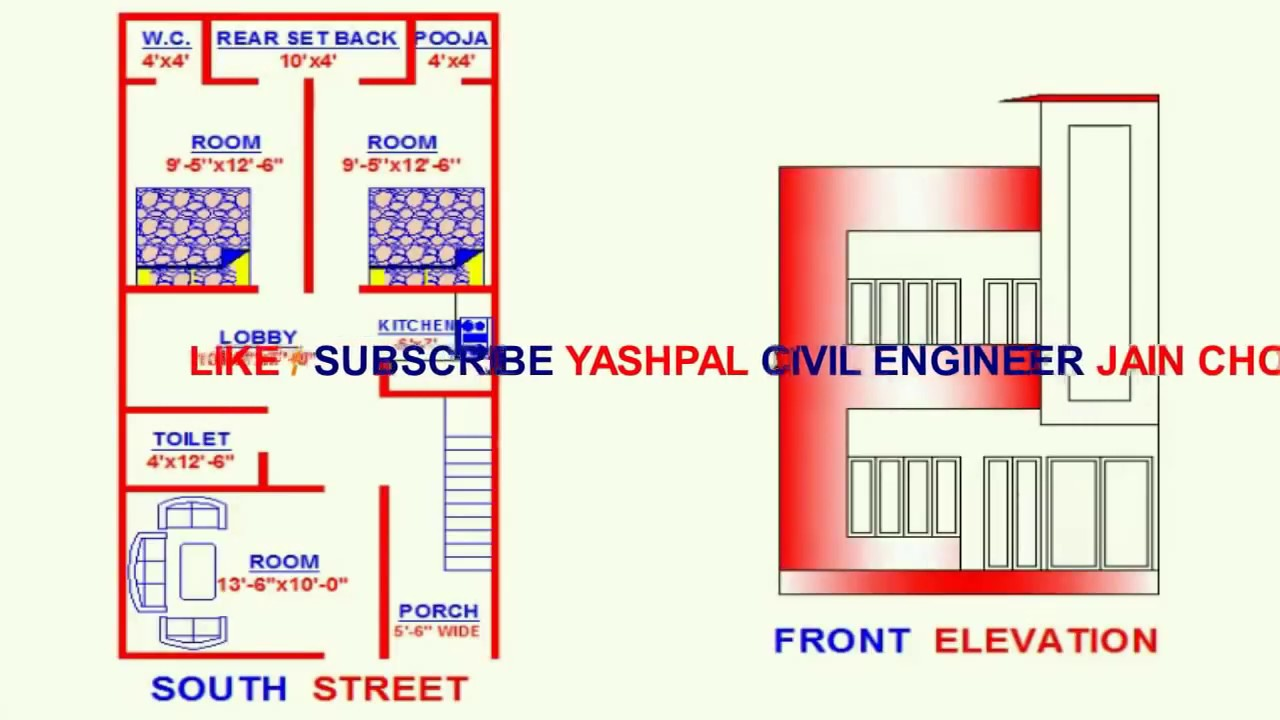 Vastu south face 2 house map 20x40 youtube for 25x30 house plans