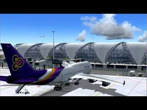 FS2004 Thai Airways B747-400 Bangkok - London