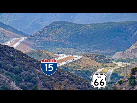 The Cajon Pass - the narrow valleys that connect the Los Angeles Basin to the Mojave Desert, in-between the San Gabriel and San...
