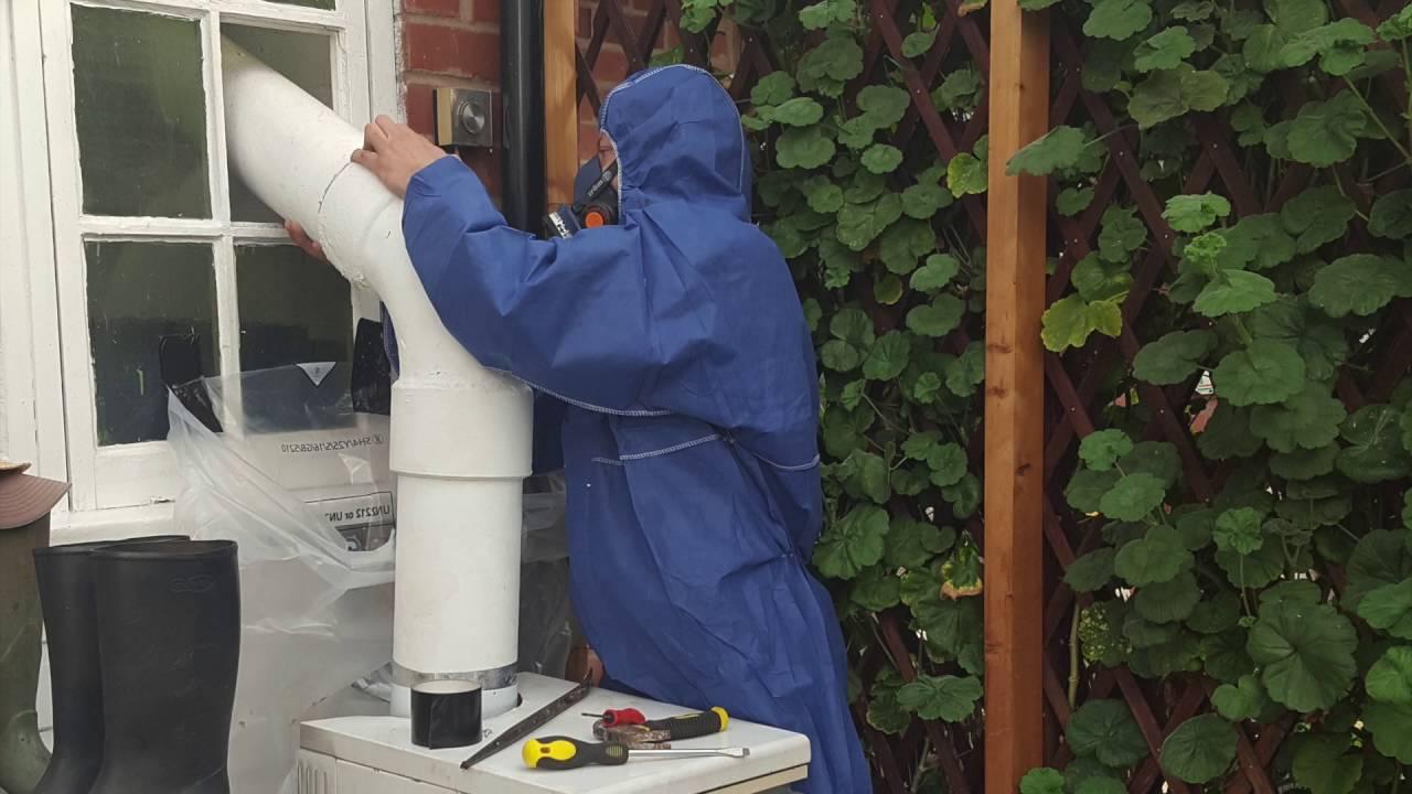 Sutton Coldfield Asbestos Cement Flue Pipe Removal & Sutton Coldfield Asbestos Cement Flue Pipe Removal - YouTube