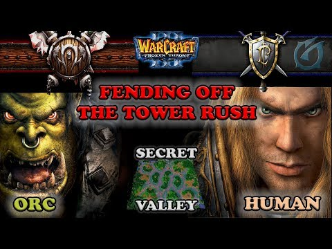 Grubby | Warcraft 3 The Frozen Throne | Orc v HU - Fending off the Tower Rush - Secret Valley