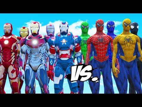 SPIDER-MAN, BLUE SPIDERMAN, GREEN SPIDERMAN, YELLOW SPIDERMAN, BLACK SPIDERMAN VS IRON MAN ARMY