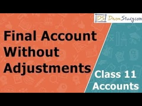 Final Account Without Adjustments: Class 11   Accounts   Video Lecture in Hindi