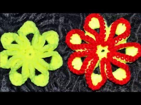 Яркий объемный цветок крючком. Мастер класс