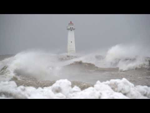 Sodus Point, NY Lighthouse And Huge Waves Wind - 2/25/2019