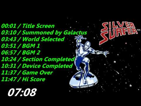 Nes: Silver Surfer Soundtrack: http://www.mediafire.com/download/xhshxeo7p2jipx5/Silver_Surfer_Soundtrack.rar 00:01 / Title Screen 03:10 / Summoned by Galactus 03:43 / World Selected 03:51 / BGM 1 06:57 / BGM 2 10:24 / Section Completed 10:31 / Device Completed 11:37 / Game Over 11:47 / Hi Score
