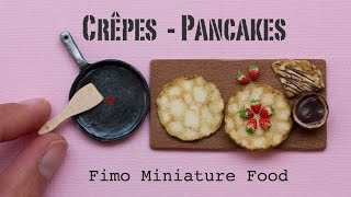 Miniature Pancakes / Crêpes, Pan and Strawberries // Fimo Polymer Clay Miniature Food Tutorial