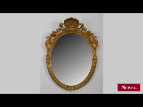 Antique French Victorian gold painted oval wall mirror