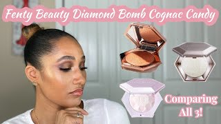 Fenty Beauty Diamond Bomb in Cognac Candy Candy! | Comparing All THREE Diamond Bomb Powders!