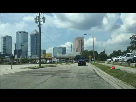 Driving Downtown Tampa Florida USA