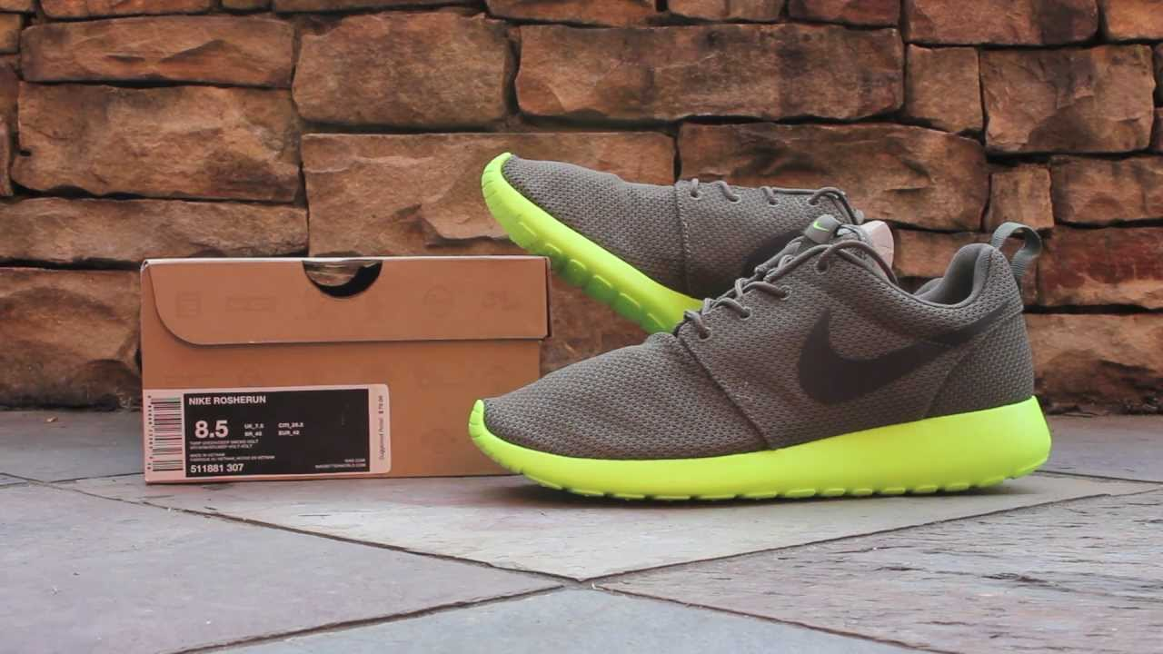 iguana and neon green nike roshes