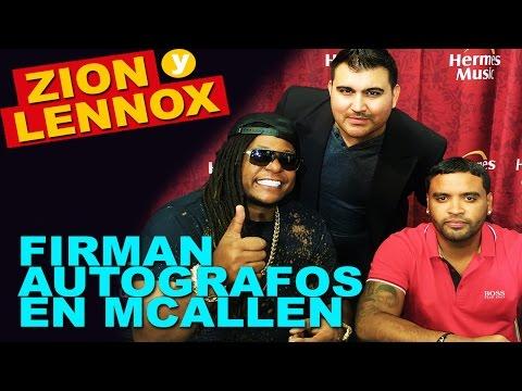 Zion y Lennox firman autografos en Hermes Music de McAllen Texas