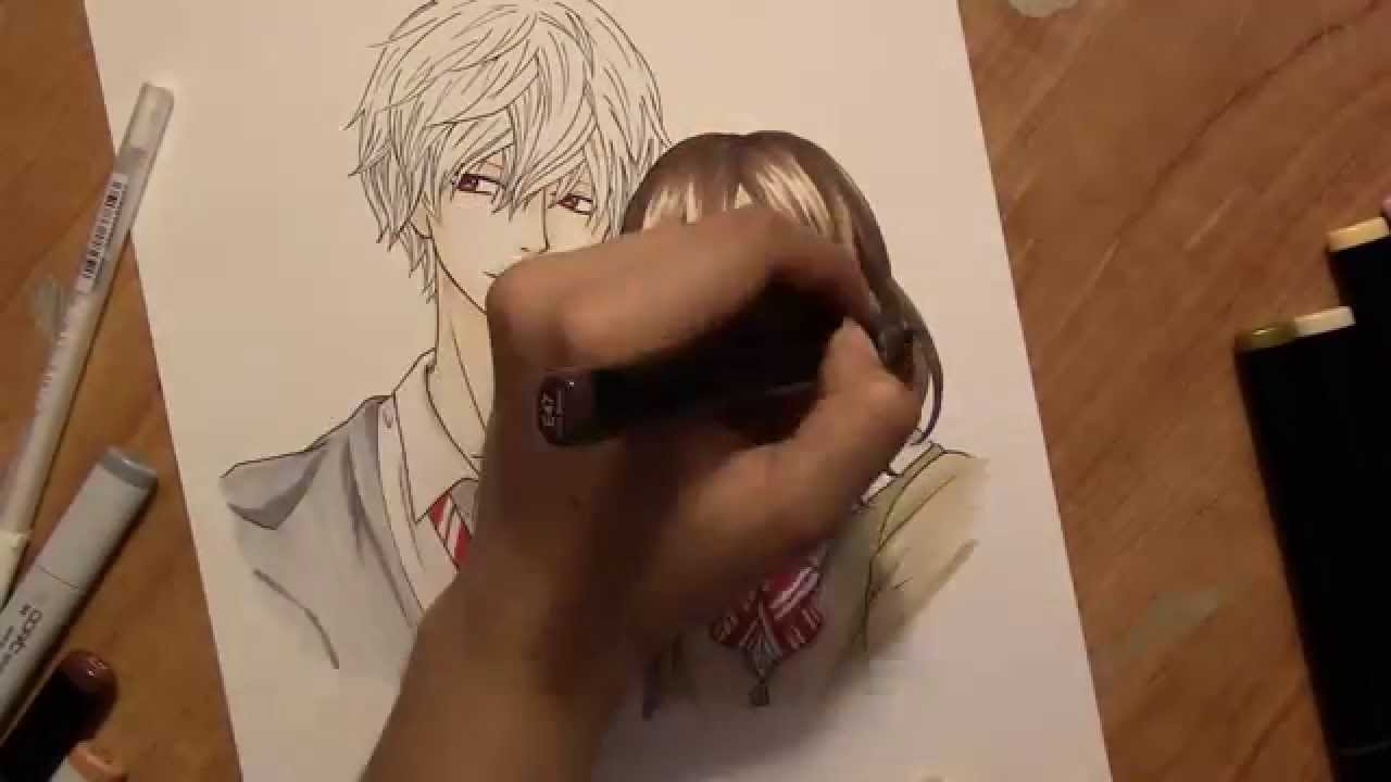 Drawing Sata Kyouya And Erika Shinohara From The Anime Ookami Shoujo To Kuro Ouji And Q A Youtube