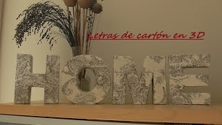 Letras de cartón en 3D