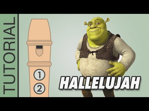 Hallelujah (Leonard Cohen) - Shrek - Recorder Notes Tutorial - Flauta Dulce