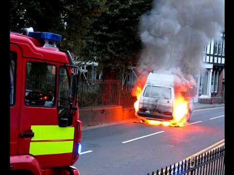 Volkswagen Campervan on Fire in Machynlleth