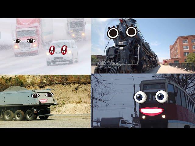 【 doodles アニメ 】でんしゃ , 機関車 , トラック , 車 , 他 から 顔が出現する ドッキリ ?  おもしろ動画【 乗り物 他 まとめ 23 】