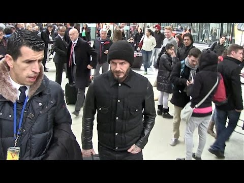 EXCLUSIVE - David Beckham arrives at Gare du Nord in paris to attend PSG vs Chelsea