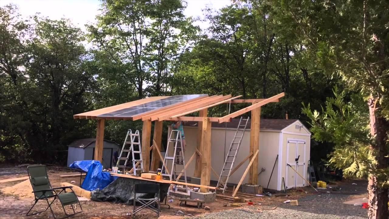 Solar Carport from reclaimed wood - YouTube