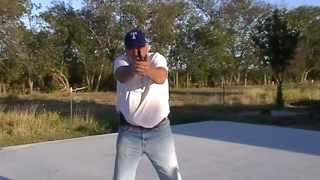 22 - Demonstrating and explaining two shooting stances commonly use...