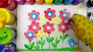 Learn Colors for Kids and Hand Paint with Flower Stamps BirthdayCandyLand