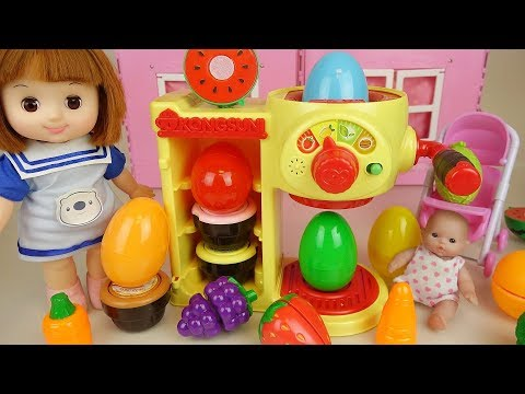 Baby Doli and Surprise eggs fruit juice maker toys baby doll toys play