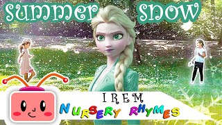Kids playing in frozen Elsa SUMMER SNOW | beach funny face kids songs nursery rhymes