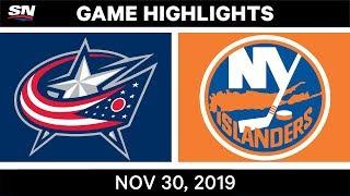 NHL Highlights   Blue Jackets vs. Islanders – Nov. 30, 2019