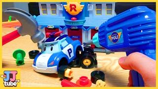 폴리 전동공구 장난감 놀이 뽀로로와 크롱을 도와줘 엠버 로이 Robocar POLI Toy & Play [제이제이튜브  - JJ tube]