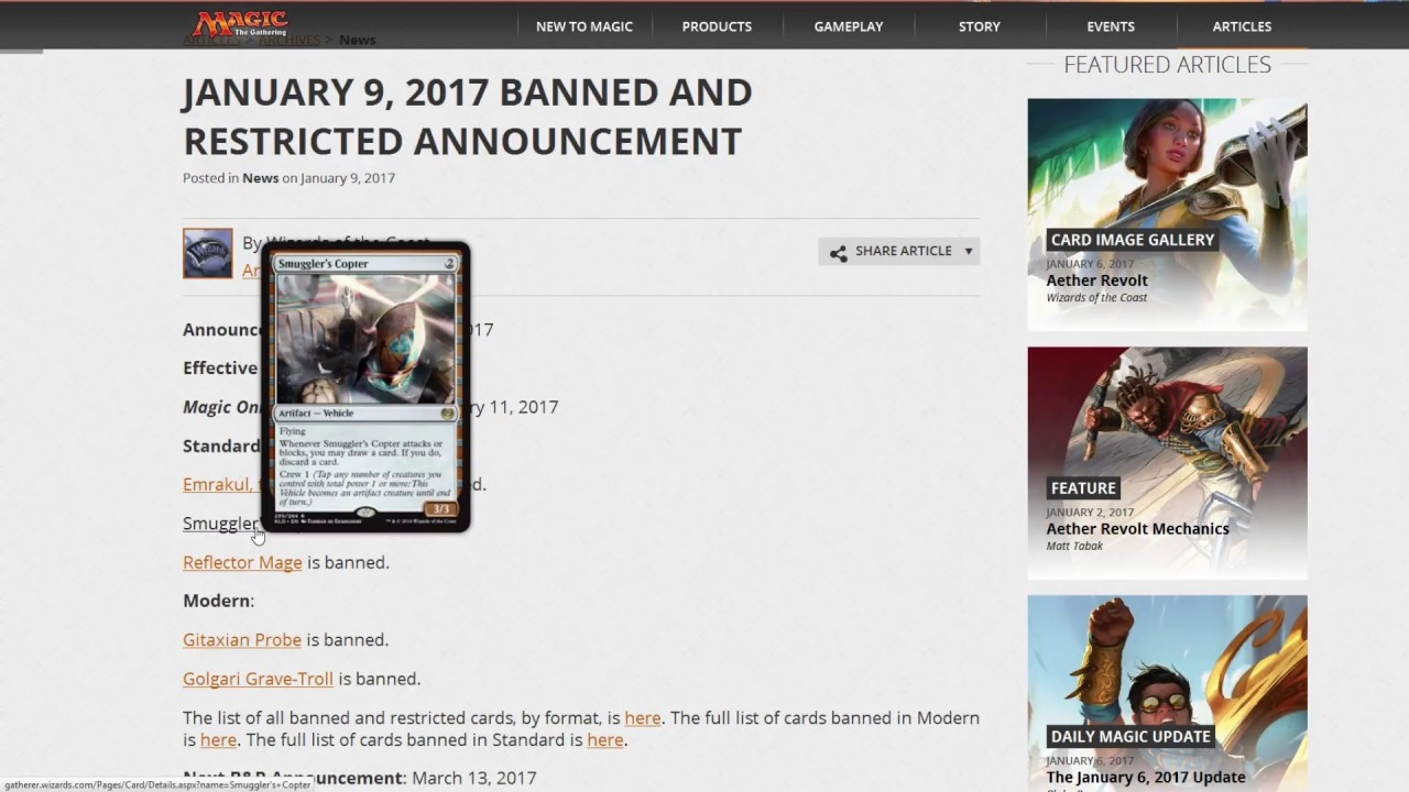 banlist update! huge new bans in modern and standard - magic the