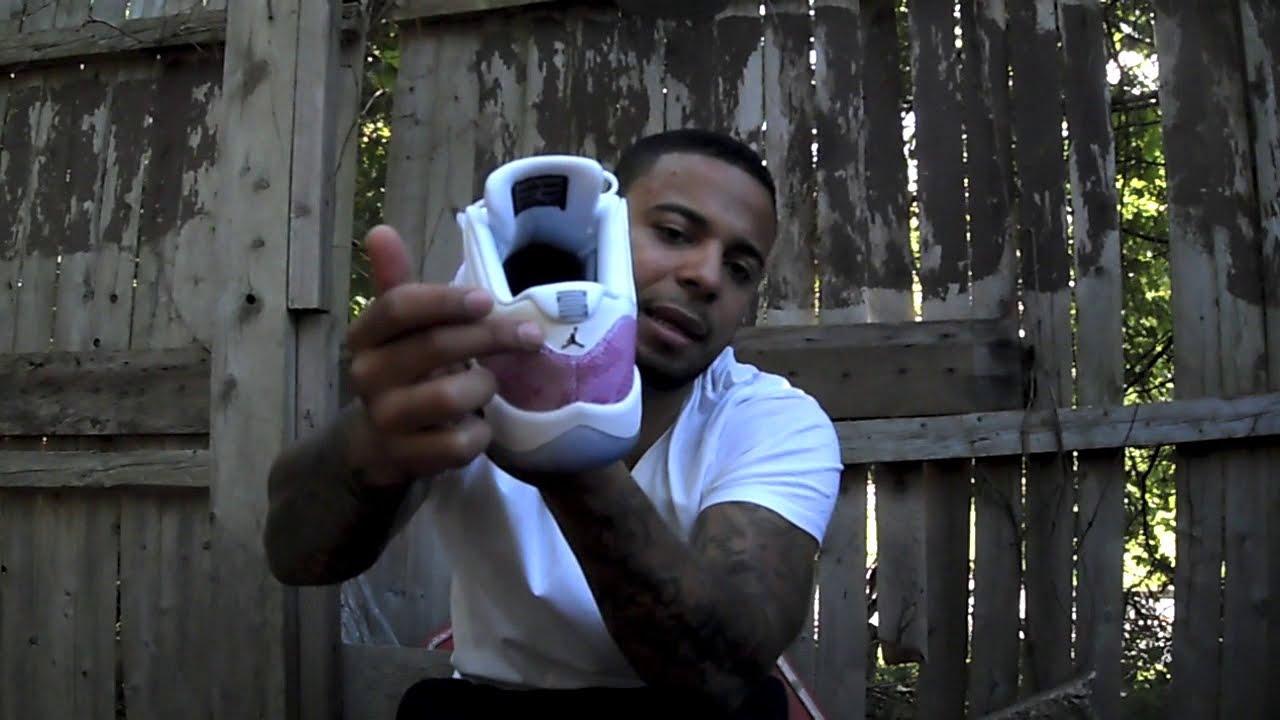 8e8cd54c54da17 Jordan 11 pink snake skin low s ( size 7 ) on feet - YouTube