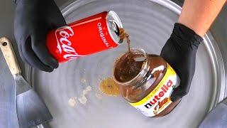 Coca-Cola & Nutella Experiment - satisfying Ice Cream Rolls | ASMR