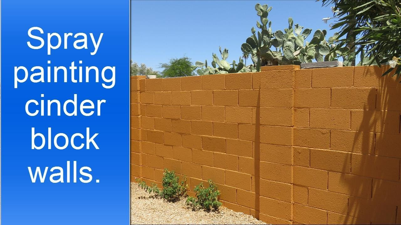 Spray painting exterior cinder block walls. - YouTube